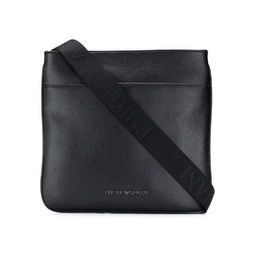 Emporio Armani Pebbled Leather Messenger Bag In Bl