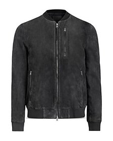 ALLSAINTS - Troy Suede Hooded Bomber Jacket