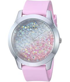 GUESS Silver-Tone and Pink Silicone Watch Embellis