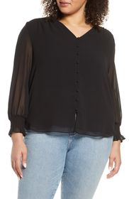 1.State Smocked Detail Button-Up Shirt (Plus Size)