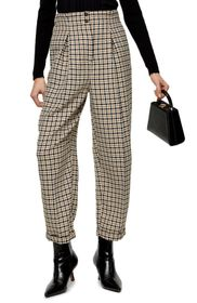 TOPSHOP Houndstooth Check High Waist Ovoid Trouser