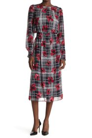 Tommy Hilfiger Floral Plaid Long Sleeve Smocked Ch