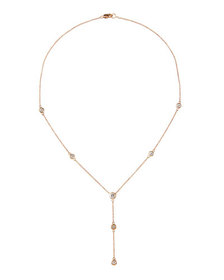 Diana M. Jewels 14k Rose Gold 7-Diamond Lariat Nec
