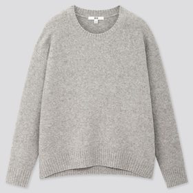 Women Light Souffle Yarn Relaxed Crew Neck Sweater