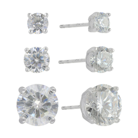 Womens Sunstone 3pc. Sterling Silver Round CZ Stud