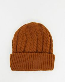 Urbancode cable knit beanie hat in rust