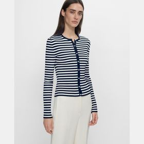 Ribbed Cardigan in Striped Stretch Cotton