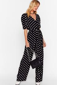 Nasty Gal Black It's Dot Over Puff Sleeve Wide-Leg