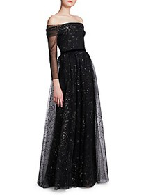Marchesa Glitter Off-The-Shoulder Ball Gown