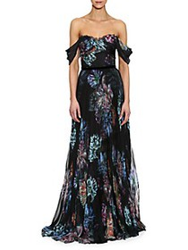 Marchesa Draped Moody Floral Grown