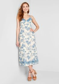Anna Sui So Totally Blossom Midi Dress White/Blue