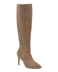 CHARLES DAVID Stretch Suede Tall Shaft Dress Boots