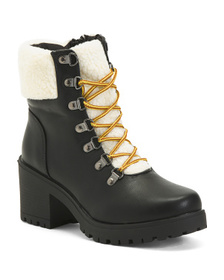 CATHERINE MALANDRINO Cozy Lined Lace Up Hiker Boot
