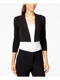 CALVIN KLEIN Womens Black 3/4 Sleeve Open Cardigan
