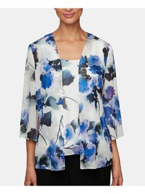 ALEX EVENINGS Womens White Floral Long Sleeve Scoo