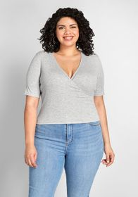 ModCloth ModCloth Flawless Fridays Faux-Wrap Top H
