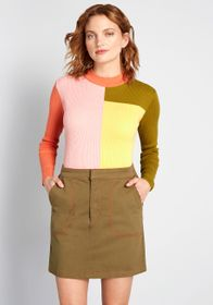 ModCloth Truly Groovy Long Sleeve Sweater Multi Co