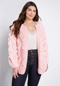 ModCloth ModCloth Textured Touch Cardigan Pink