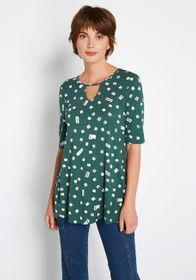 ModCloth Simple is in Keyhole Top Green Button Pri