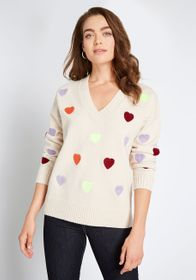 ModCloth ModCloth Cozy for You Embroidered Sweater