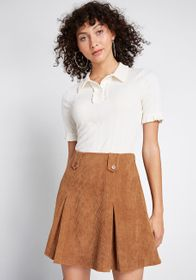 ModCloth Daily Wins Ribbed Polo Top Ivory