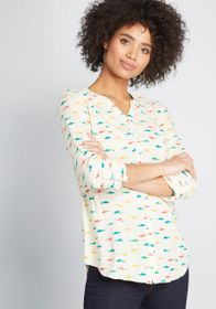 ModCloth ModCloth Trusty Travel Button-Up Top Whit