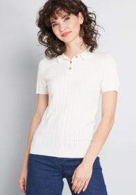 ModCloth Chosen Polo Short Sleeve Sweater in Ivory