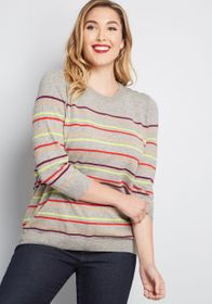 ModCloth Charter School Pullover Sweater in Grey M