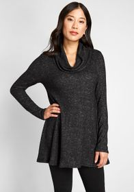 ModCloth ModCloth Cowl Neck Knit Top in Black