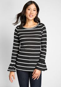 ModCloth ModCloth Waffle Knit Top with Bell Sleeve