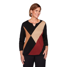 Womens Alfred Dunner Catwalk Color Block Sweater