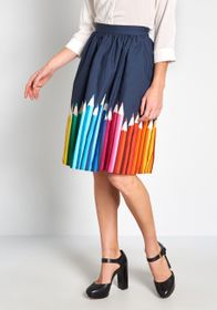 Cotton A-Line Skirt with Pockets Rainbow