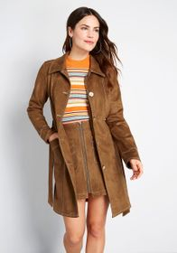 ModCloth A Touchy Subject Trench Coat Brown
