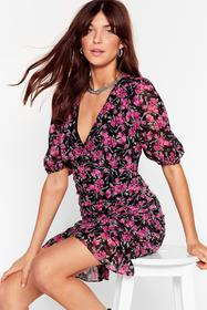 Nasty Gal Purple Ruched Floral Puff Sleeve Mini Dr