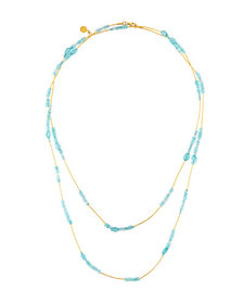 Gurhan Long Bead Necklace with 24k Gold Blue