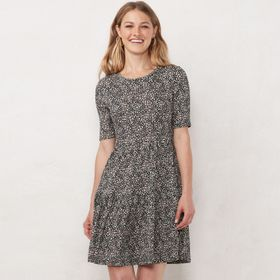 Petite LC Lauren Conrad Ribbed Tiered Fit & Flare