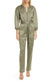 Rebecca Taylor Long Sleeve Sateen Jumpsuit