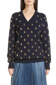 MICHAEL KORS COLLECTION Anchor Embellished Cashmer