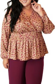 Maree Pour Toi Floral Long Sleeve Peplum Blouse (P