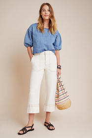 Anthropologie Lily Cropped Wide-Leg Pants