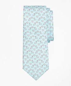 Brooks Brothers Crab and Flag Motif Print Tie