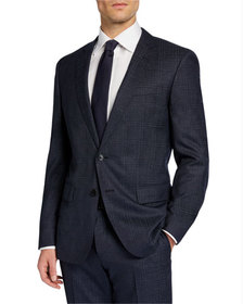 BOSS Men's Check Wool Two-Piece Suit with Cropped