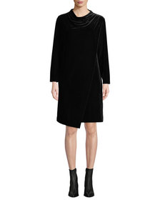 Joan Vass Petite Long-Sleeve Draped-Front Velvet D