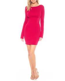 Katie May Glisten Long-Sleeve Mini Cowl-Back Dress