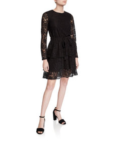 MICHAEL Michael Kors Long-Sleeve Tiered Lace A-Lin