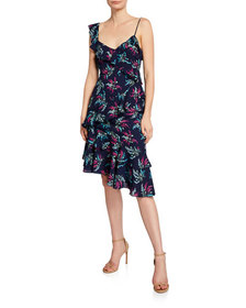 Likely Ophelia Floral Asymmetrical Dress with Ruff