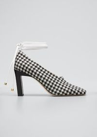 Wandler Isa Mixed Pattern Ankle-Wrap Pumps