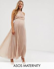 ASOS DESIGN Maternity Bridesmaid pinny maxi dress
