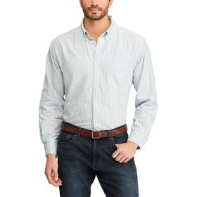 Big & Tall Chaps Bengal Striped Oxford Casual Butt