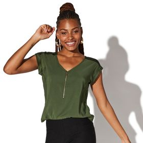 Juniors' Vylette™ Zip Front Cuffed Sleeve Blouse